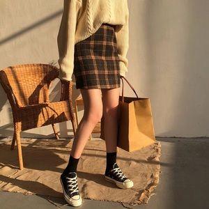 ✨NWT✨ Brown Plaid A-Line Skirt